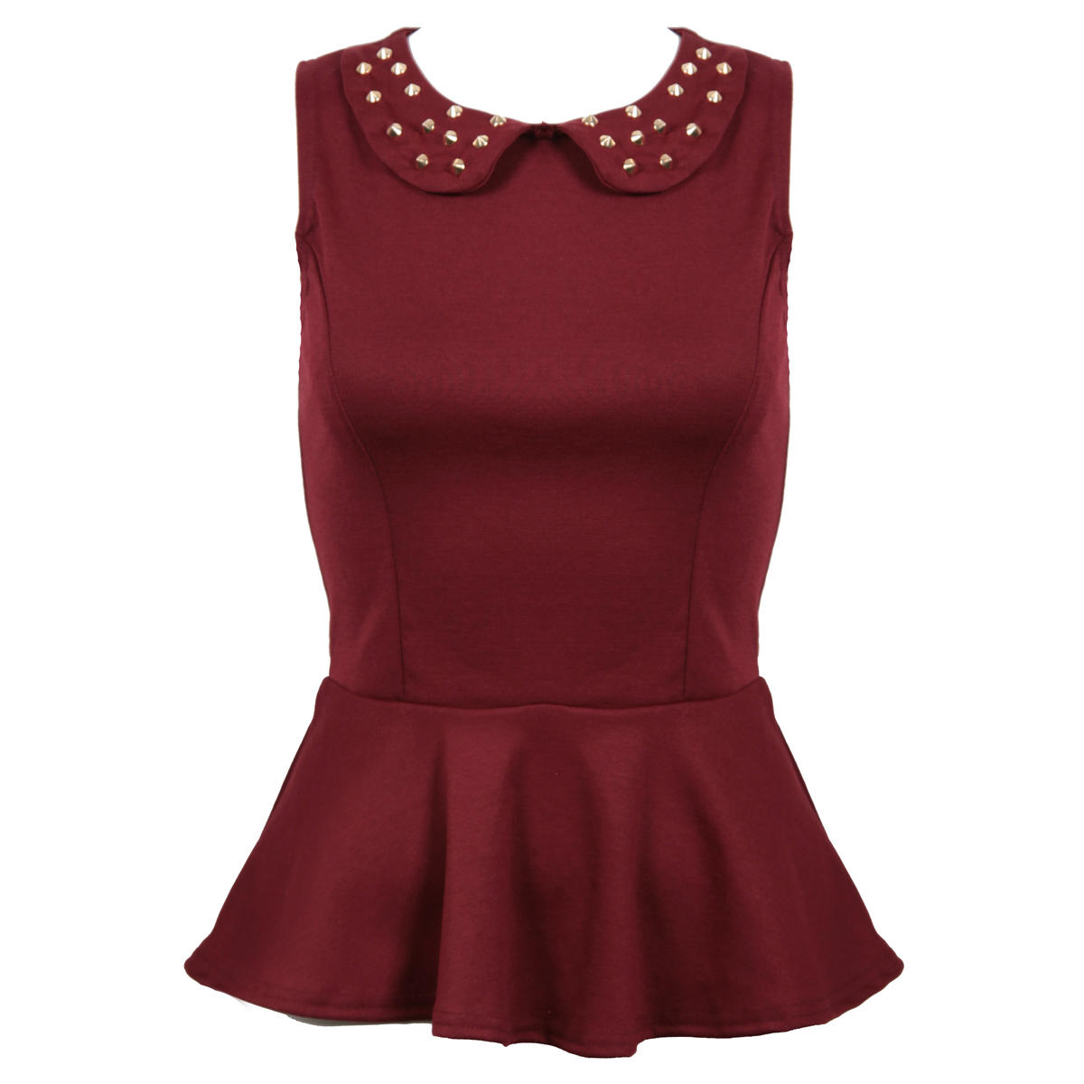 Wine Peplum Top with Studded Collar Preview