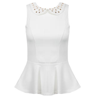 View Item White Peplum Top with Studded Collar