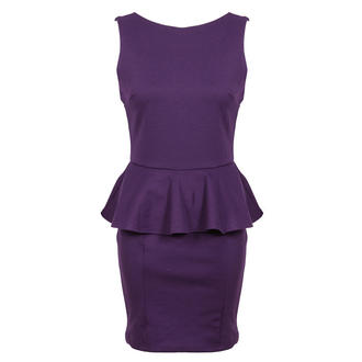 View Item Purple Tailored Peplum Dress