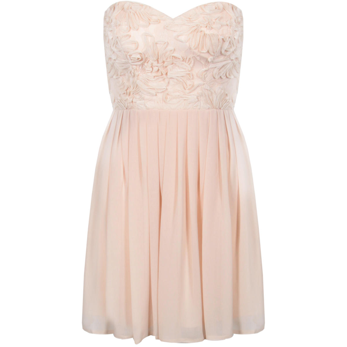 Nude Sweetheart Floral Lace Chiffon Dress Preview