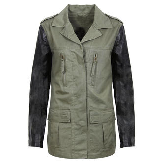 View Item Khaki Military Jacket with Leather Look Sleeves