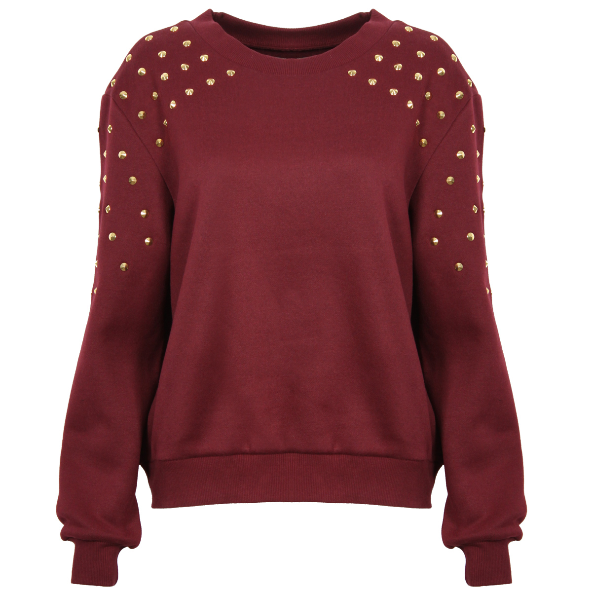 Wine Studded Shoulder Sweatshirt Preview