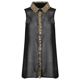 View Item Black Sleeveless Shirt with Gold Sequin Collar