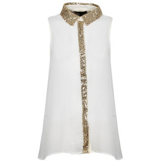 View Item Cream Sleeveless Shirt with Gold Sequin Collar