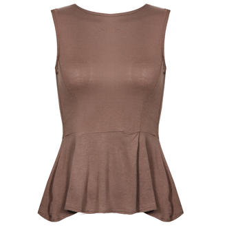 View Item Mocha Peplum Top with Back Zip Fastening