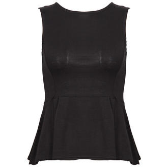 View Item Black Peplum Top with Back Zip Fastening
