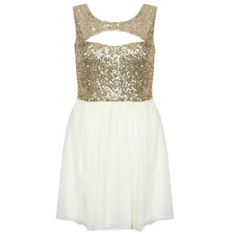 View Item Cream and Gold Sequin Cut Out Dress