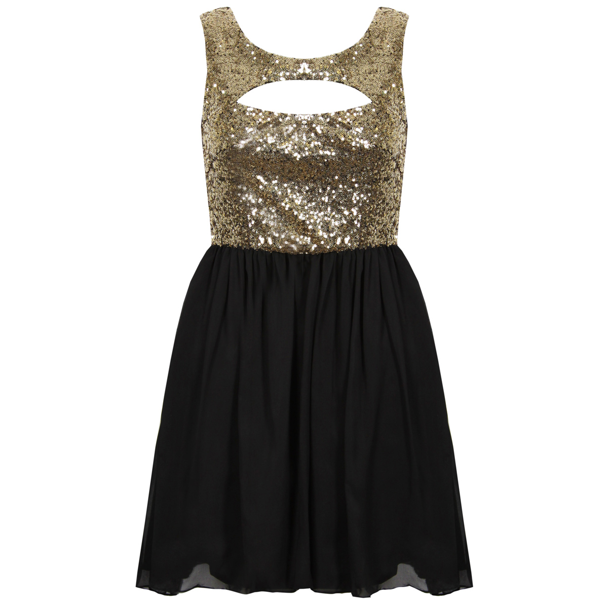 Black and Gold Sequin Cut Out Dress Preview