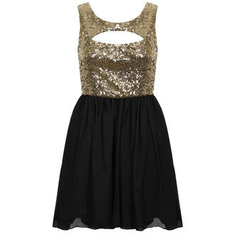 View Item Black and Gold Sequin Cut Out Dress