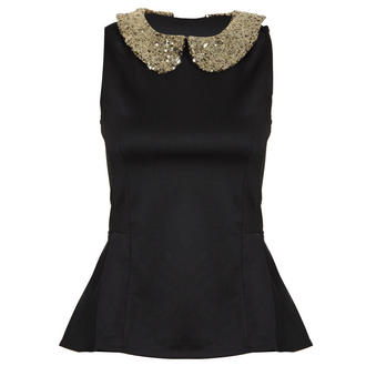 View Item Black Peplum Top with Gold Sequin Collar