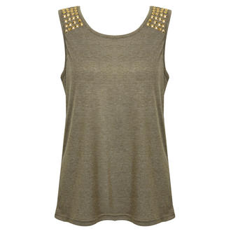 View Item Khaki Vest Top with Gold Studded Shoulder Detail