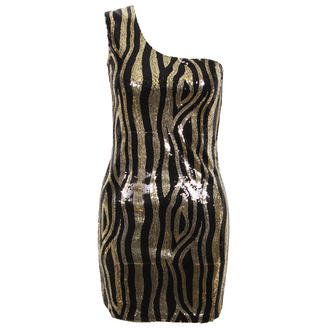 View Item Black and Gold Sequin Stripe One Shoulder Dress