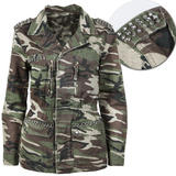Khaki and Brown Army Camo Jacket with Jewell Embellishment