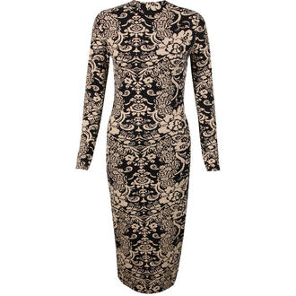 View Item Black and Nude Paisley Print Midi Dress