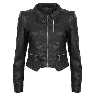 View Item Black Cropped Leather Look Jacket