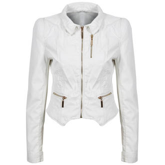 View Item White Cropped Leather Look Jacket