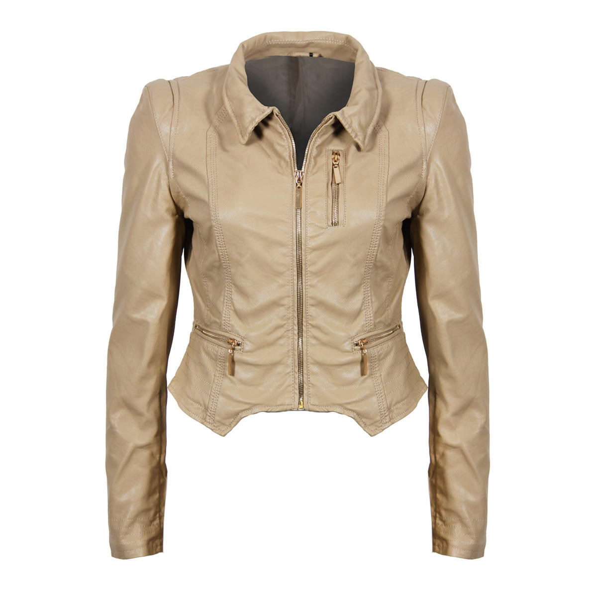 Stone Cropped Leather Look Jacket Preview