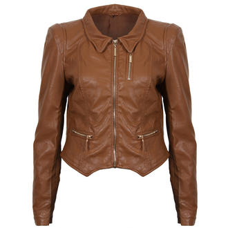 View Item Brown Cropped Leather Look Jacket