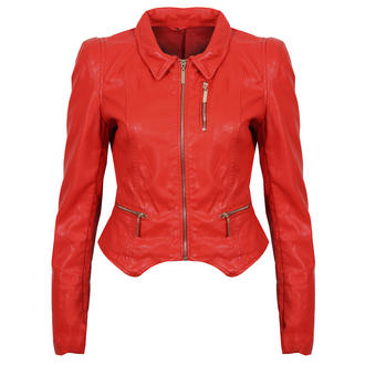 View Item Red Cropped Leather Look Jacket