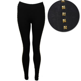 View Item Black Leggings with Gold Studs