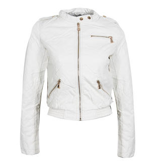 View Item White Cropped Quilted Biker Jacket