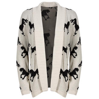 View Item Cream Horse Print Open Cardigan