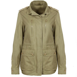 View Item Light Green Khaki Skull Stud Military Jacket
