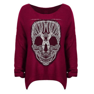 View Item Red Skull Mesh Lace Applique Jumper