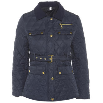 View Item Navy Belted Diamond Quilted Coat with Cord Collar