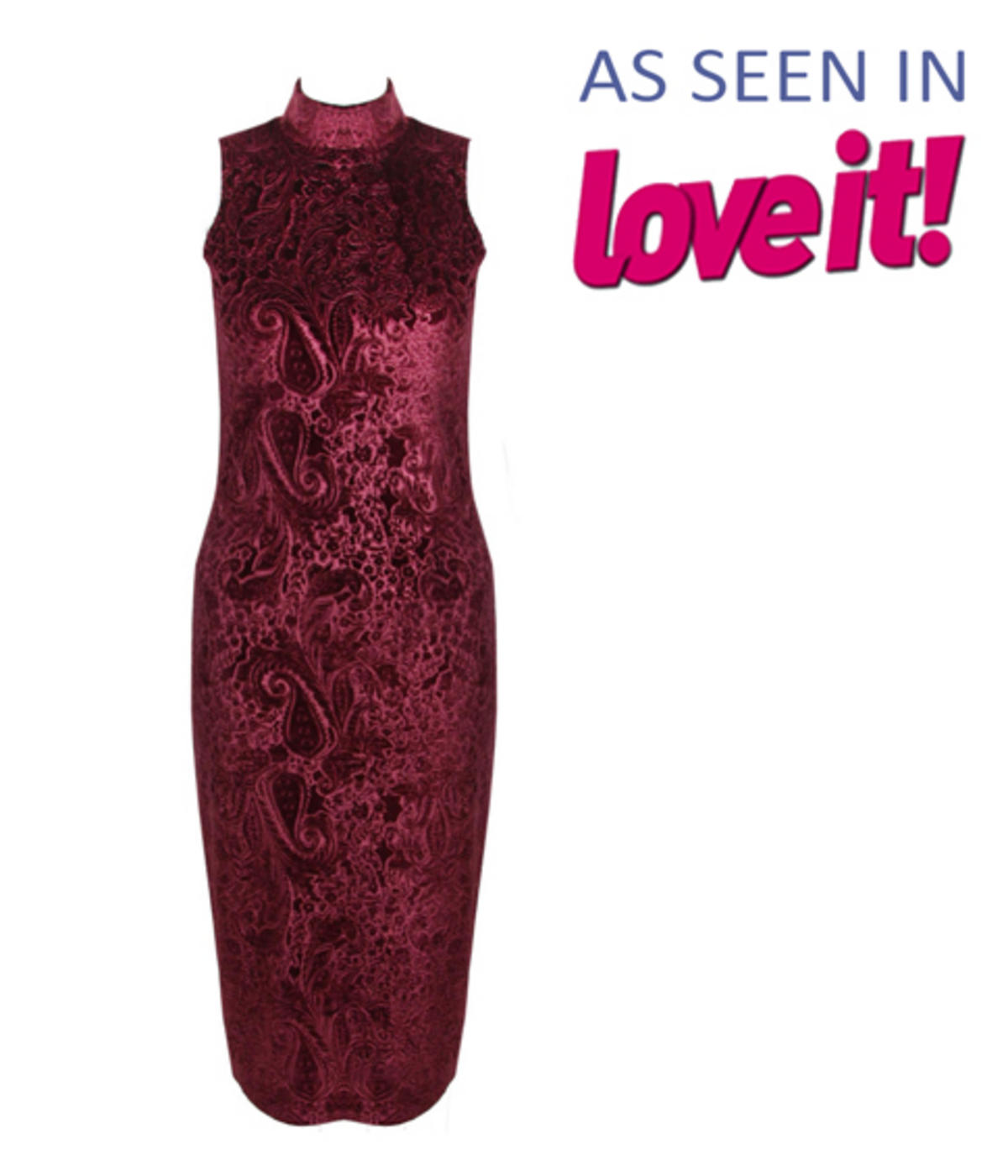 Wine Paisley Velvet Look Polo Neck Sleeveless Midi Dress Preview