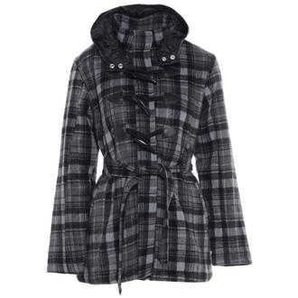 View Item Grey Faux Wool Hooded Check Toggle Coat
