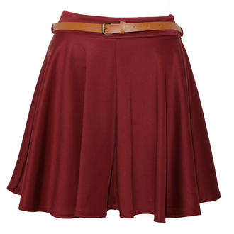 View Item Wine Belted Jersey Skater Skirt