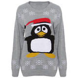 Grey Festive Penguin Jumper