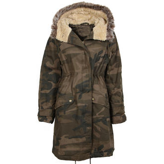 View Item Camo Parka Jacket with Faux Fur Trim Hood