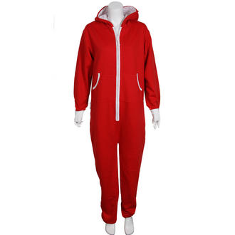 View Item Red Fleece Lined Hooded Onesie