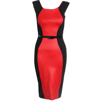 View Item Red Belted Contrast Bodycon Curve Dress