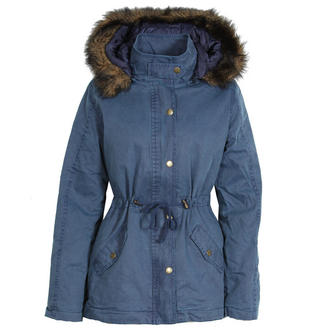 View Item Blue Parka Coat with Detachable Fur Trim Hood