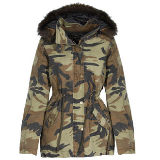 View Item Camo Parka Coat with Detachable Fur Trim Hood