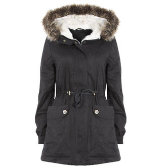 View Item Black Parka Coat with Fur Trim Hood