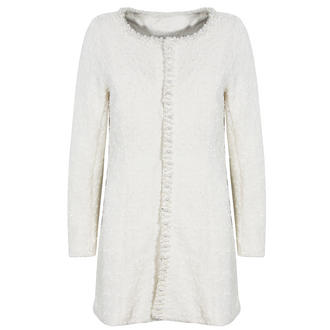 View Item Cream Faux Pearl and Jewell Embellished Cardigan