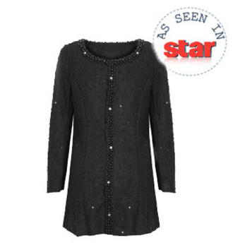View Item Black Faux Pearl and Jewell Embellished Cardigan