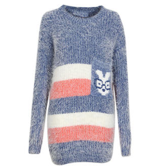 View Item Striped Knitted Jumper with Geek Rabbit Pocket
