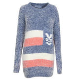 Striped Knitted Jumper with Geek Rabbit Pocket