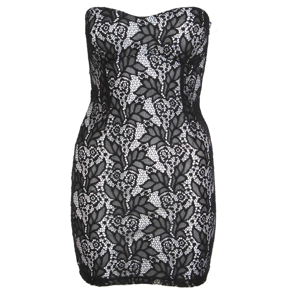 Black Floral Lace Bodycon Mini Dress Preview