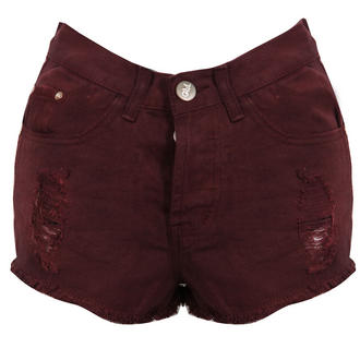 View Item Wine Distressed Denim Shorts