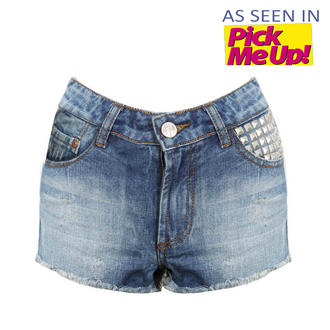 View Item Light Blue Distressed Denim Shorts with Stud Pocket Detail