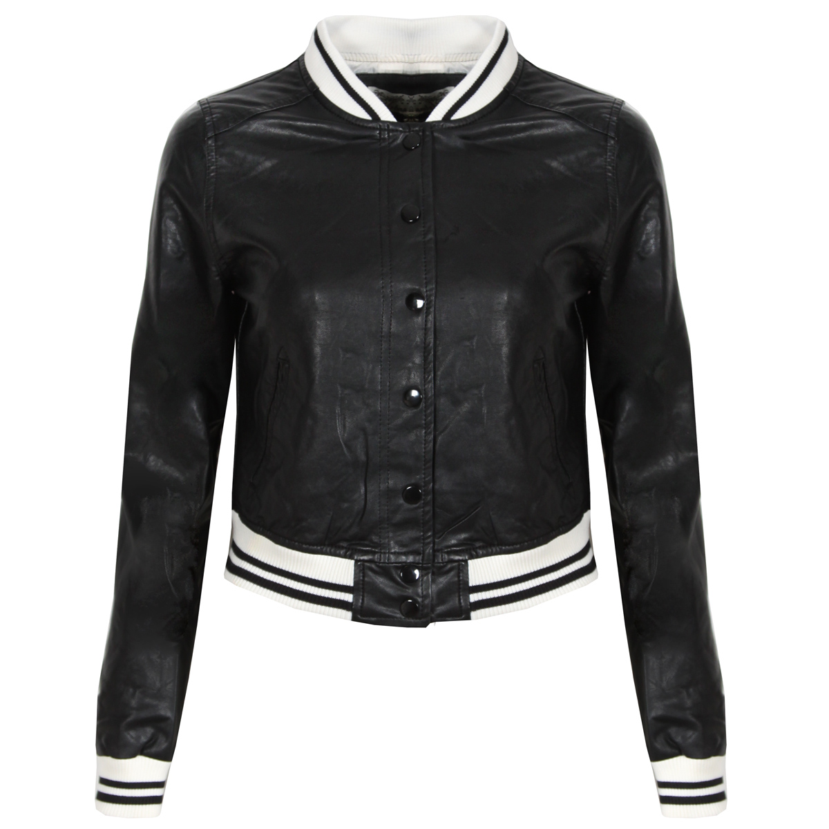 Black Faux Leather Varsity Bomber Jacket Preview