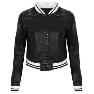 View Item Black Faux Leather Varsity Bomber Jacket