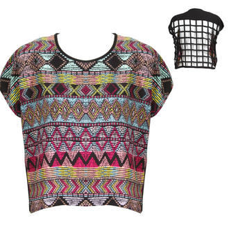 View Item Cropped Aztec Print Top with Caged Back