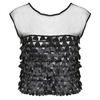 View Item Black Cropped Mesh Top with Heart Detail Front